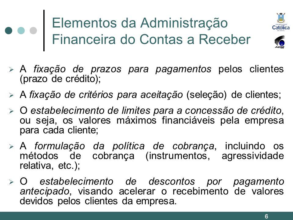 Elementos da Administração Financeira do Contas a Receber A fixação de prazos para pagamentos pelos clientes (prazo de crédito); A fixação de critério