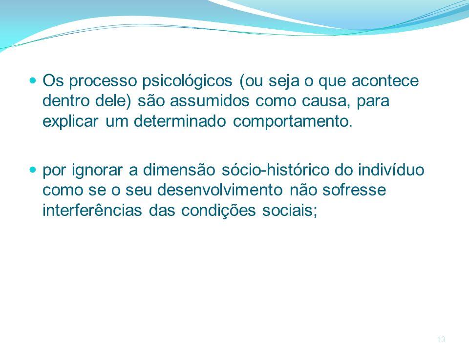 13 Os processo psicológicos (ou seja o que acontece dentro dele) são assumidos como causa, para explicar um determinado comportamento. por ignorar a d