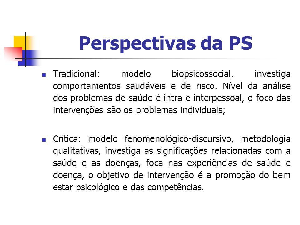 Perspectivas da PS Tradicional: modelo biopsicossocial, investiga comportamentos saudáveis e de risco. Nível da análise dos problemas de saúde é intra