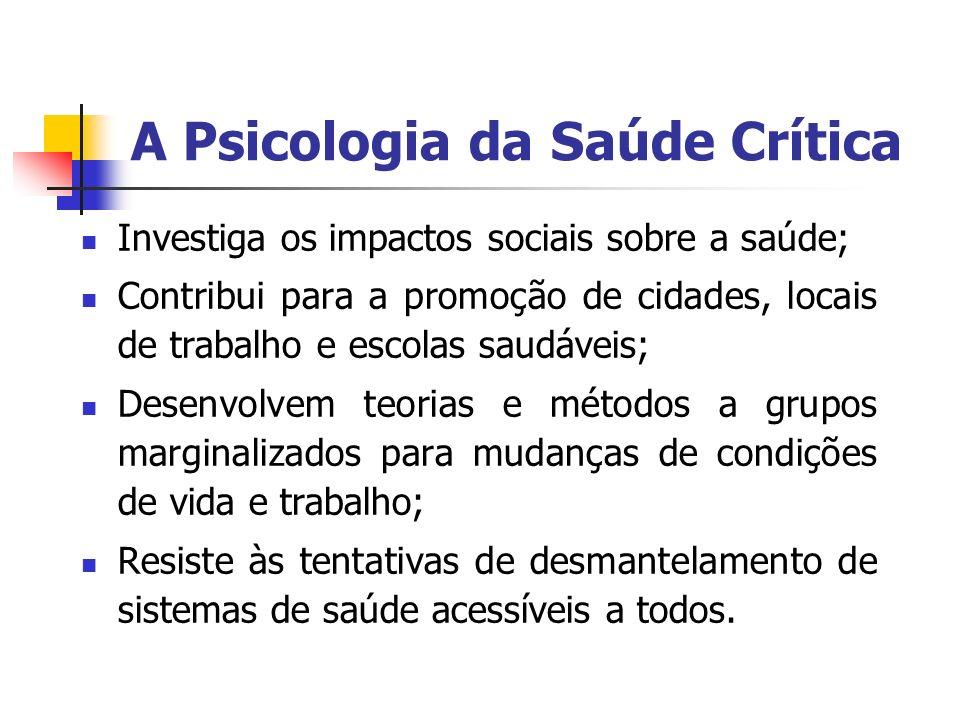 A Psicologia da Saúde Crítica Investiga os impactos sociais sobre a saúde; Contribui para a promoção de cidades, locais de trabalho e escolas saudávei