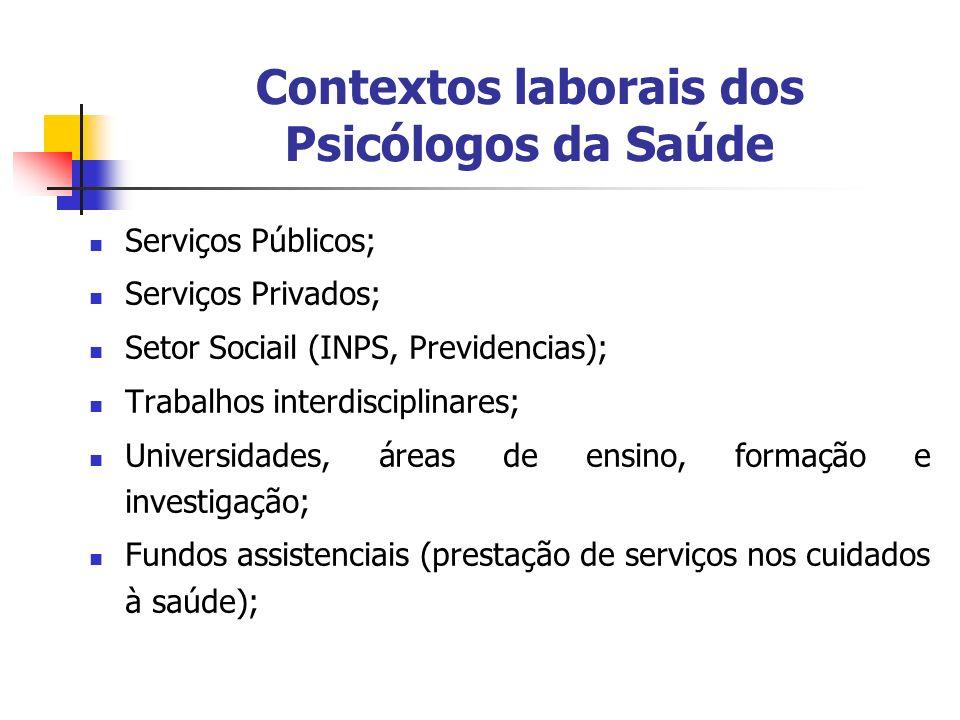 Contextos laborais dos Psicólogos da Saúde Serviços Públicos; Serviços Privados; Setor Sociail (INPS, Previdencias); Trabalhos interdisciplinares; Uni