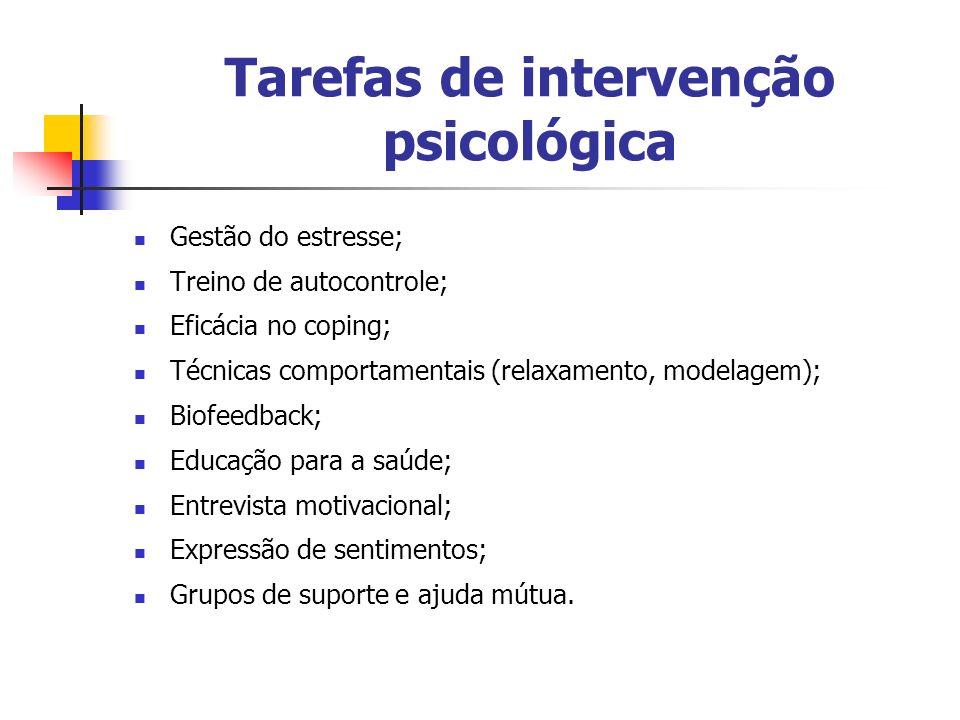 Tarefas de intervenção psicológica Gestão do estresse; Treino de autocontrole; Eficácia no coping; Técnicas comportamentais (relaxamento, modelagem);