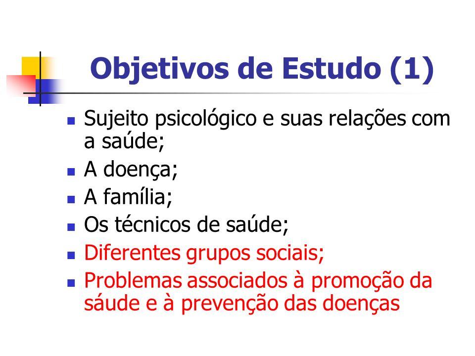 Objetivos de Estudo (1) Sujeito psicológico e suas relações com a saúde; A doença; A família; Os técnicos de saúde; Diferentes grupos sociais; Problem
