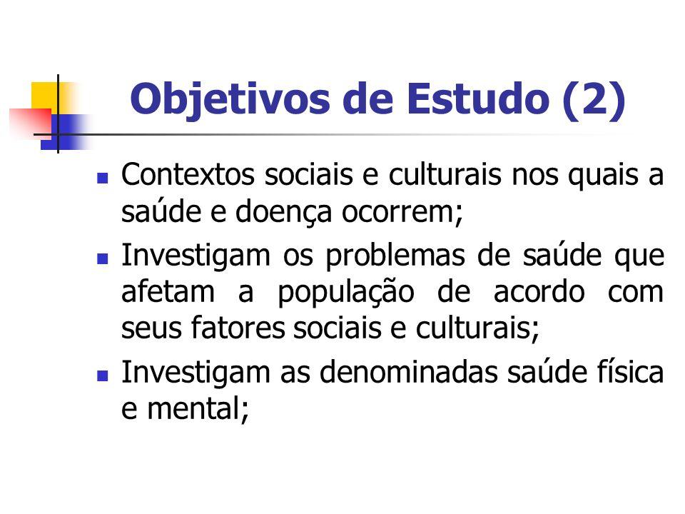 Objetivos de Estudo (2) Contextos sociais e culturais nos quais a saúde e doença ocorrem; Investigam os problemas de saúde que afetam a população de a