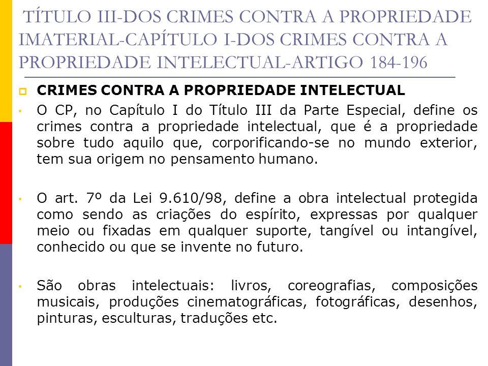 TÍTULO III-DOS CRIMES CONTRA A PROPRIEDADE IMATERIAL-CAPÍTULO I-DOS CRIMES CONTRA A PROPRIEDADE INTELECTUAL-ARTIGO 184-196 V iolação de direito autoral O crime de violação de direito autoral é definido no art.