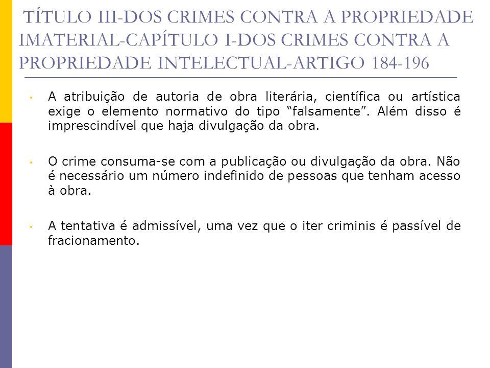 TÍTULO III-DOS CRIMES CONTRA A PROPRIEDADE IMATERIAL-CAPÍTULO I-DOS CRIMES CONTRA A PROPRIEDADE INTELECTUAL-ARTIGO 184-196 CRIMES CONTRA O PRIVILÉGIO DE INVENÇÃO E CRIMES DE CONCORRENCIA DESLEAL Tais espécies de crimes, que eram previstos nos artigos 187 a 196 do Código Penal, foram revogados expressamente pela Lei 9.279/96 (art.