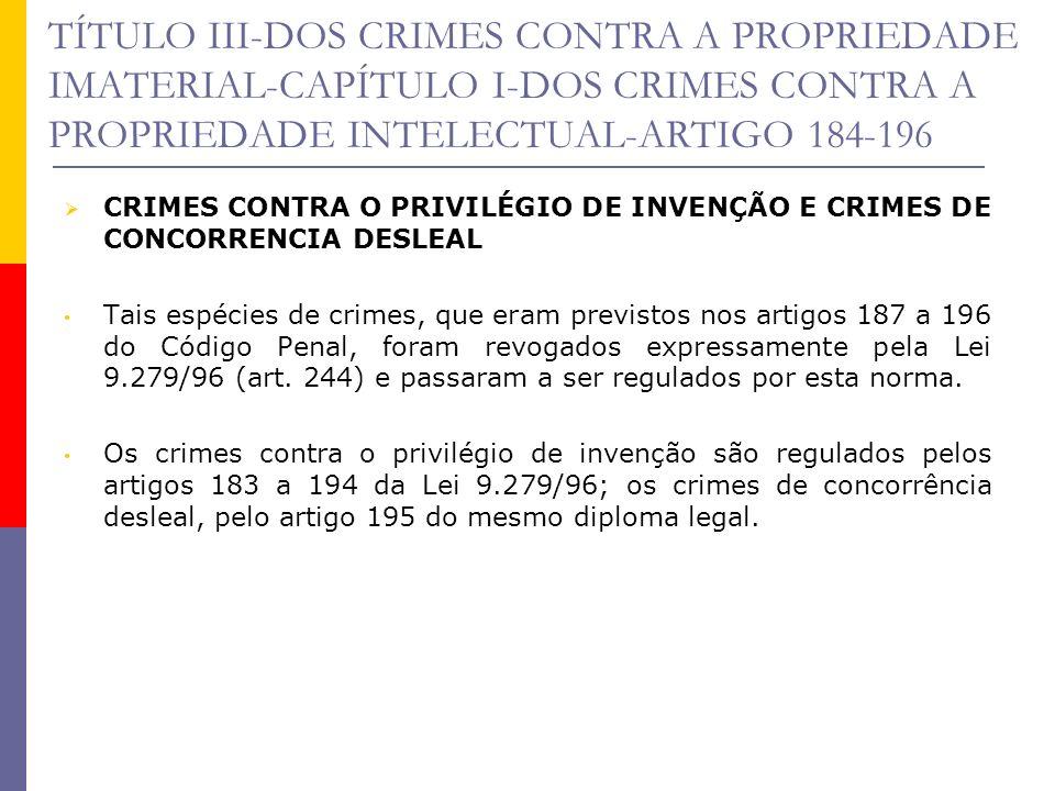 TÍTULO III-DOS CRIMES CONTRA A PROPRIEDADE IMATERIAL-CAPÍTULO I-DOS CRIMES CONTRA A PROPRIEDADE INTELECTUAL-ARTIGO 184-196 CRIMES CONTRA O PRIVILÉGIO