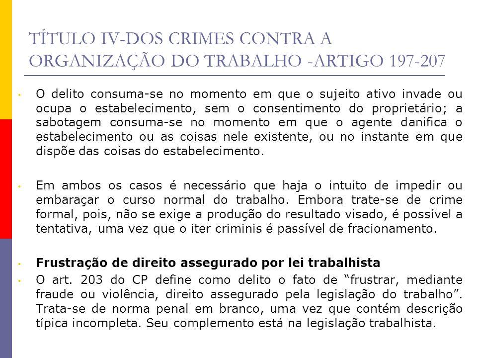 TÍTULO IV-DOS CRIMES CONTRA A ORGANIZAÇÃO DO TRABALHO -ARTIGO 197-207 O delito consuma-se no momento em que o sujeito ativo invade ou ocupa o estabele