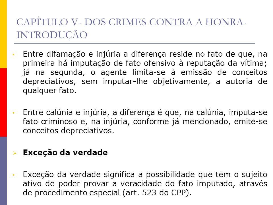 CAPÍTULO V- DOS CRIMES CONTRA A HONRA- INTRODUÇÃO Entre difamação e injúria a diferença reside no fato de que, na primeira há imputação de fato ofensi
