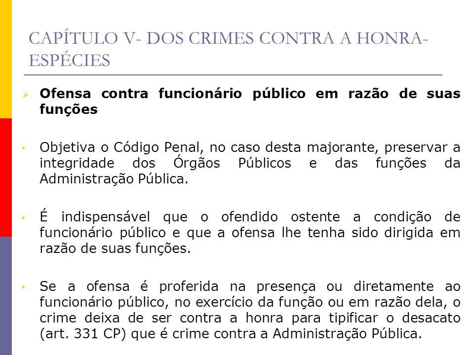CAPÍTULO V- DOS CRIMES CONTRA A HONRA- ESPÉCIES Ofensa contra funcionário público em razão de suas funções Objetiva o Código Penal, no caso desta majo