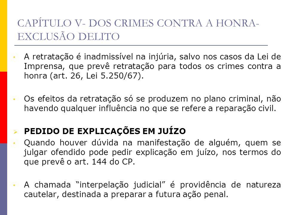 CAPÍTULO V- DOS CRIMES CONTRA A HONRA- EXCLUSÃO DELITO A retratação é inadmissível na injúria, salvo nos casos da Lei de Imprensa, que prevê retrataçã