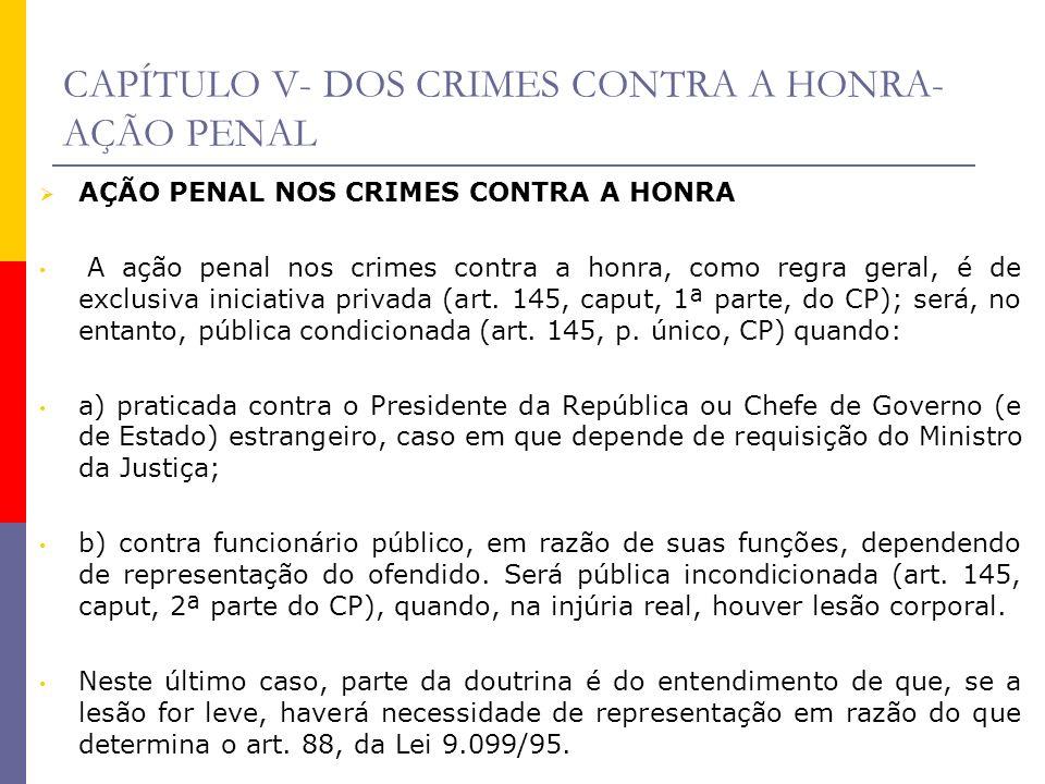 CAPÍTULO V- DOS CRIMES CONTRA A HONRA- AÇÃO PENAL AÇÃO PENAL NOS CRIMES CONTRA A HONRA A ação penal nos crimes contra a honra, como regra geral, é de