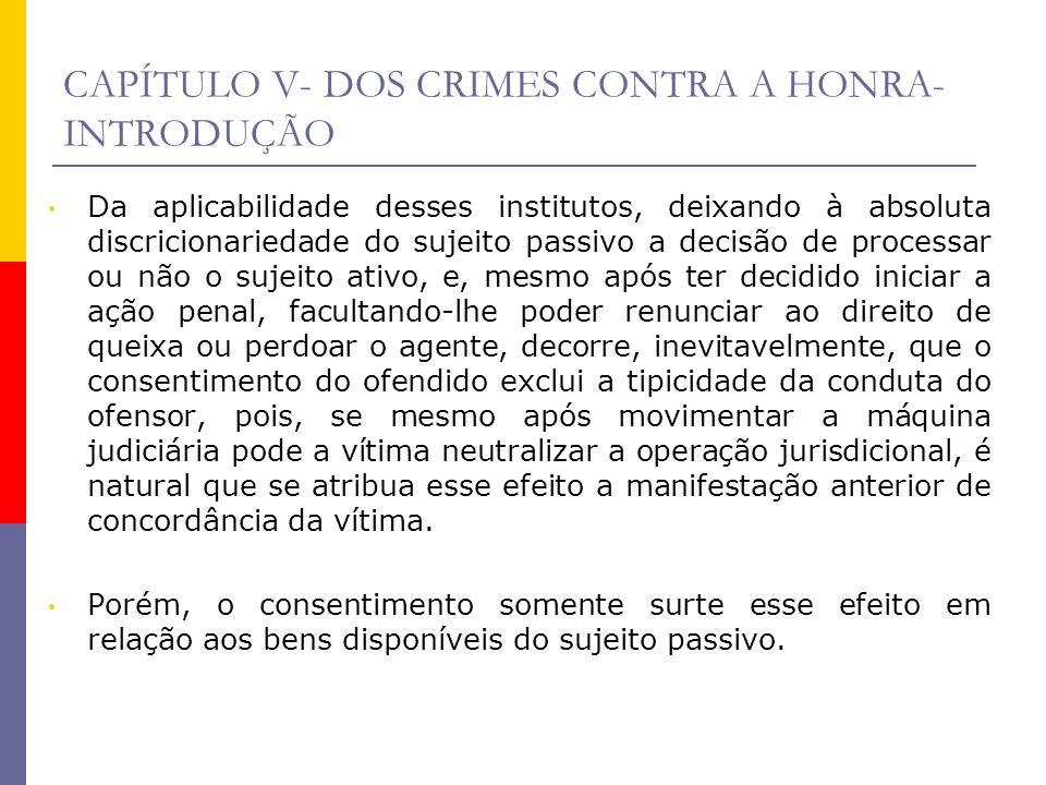 CAPÍTULO V- DOS CRIMES CONTRA A HONRA- INTRODUÇÃO Da aplicabilidade desses institutos, deixando à absoluta discricionariedade do sujeito passivo a dec