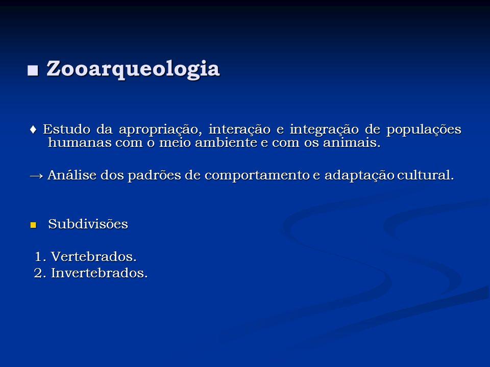 Zooarqueologia Zooarqueologia Estudo da apropriação, interação e integração de populações humanas com o meio ambiente e com os animais. Estudo da apro