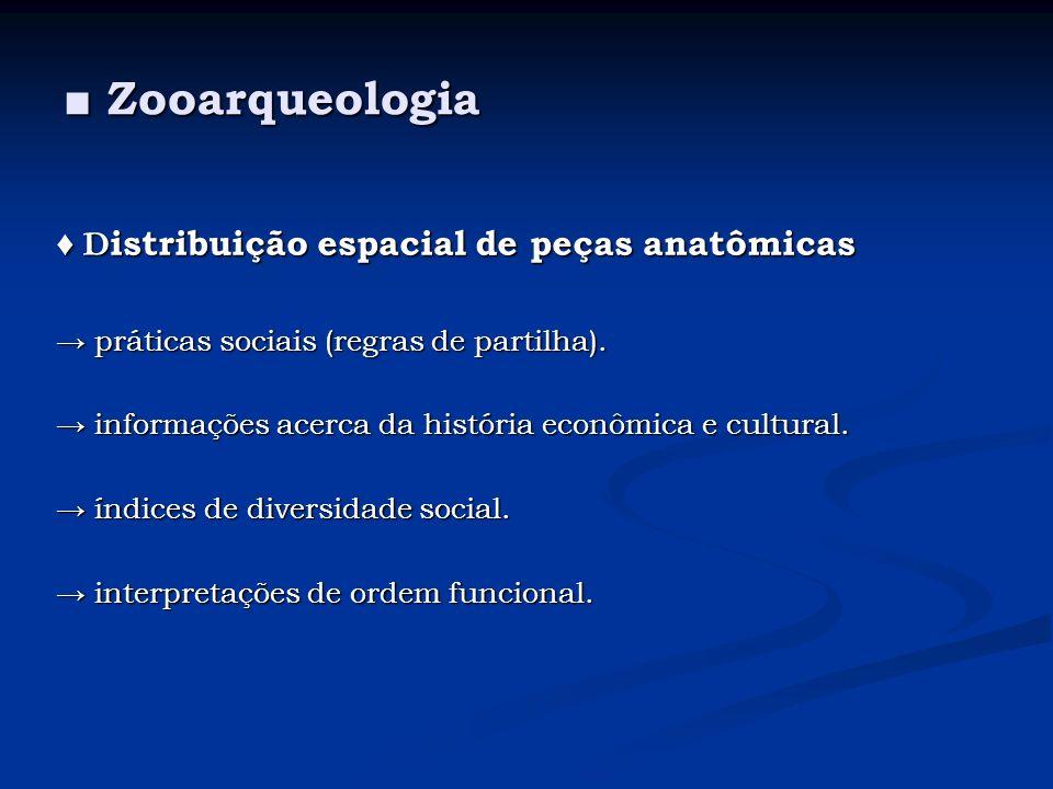Zooarqueologia Zooarqueologia D istribuição espacial de peças anatômicas D istribuição espacial de peças anatômicas práticas sociais (regras de partil
