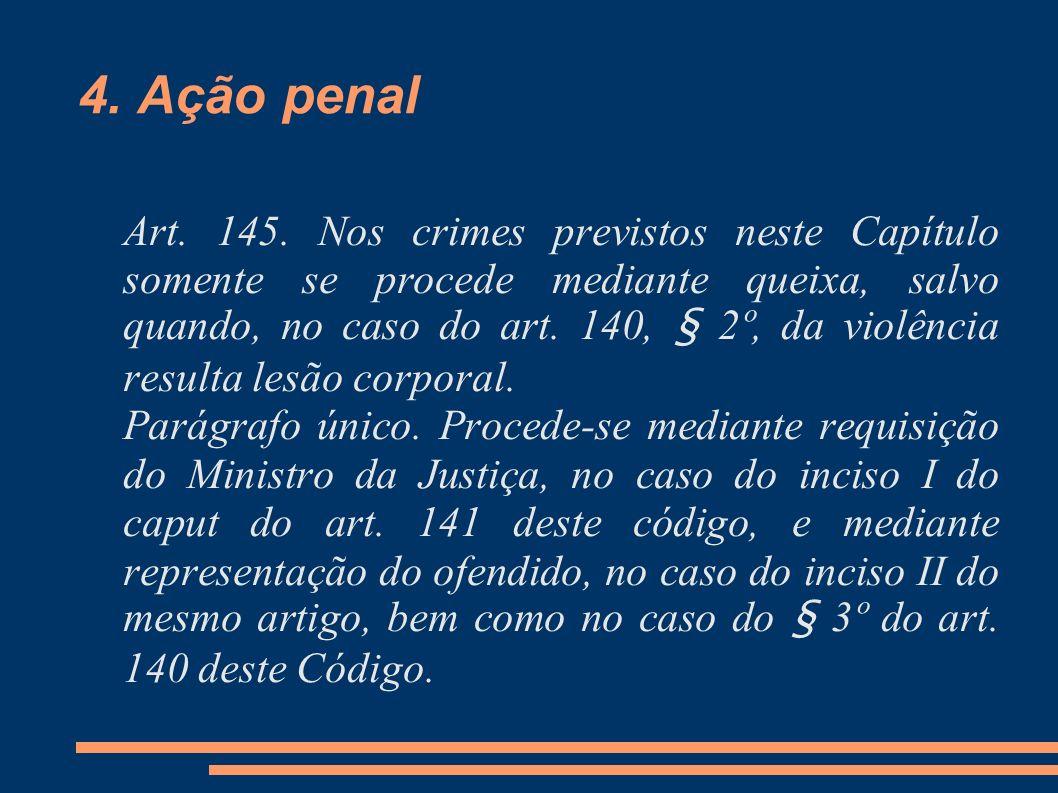 4. Ação penal Art. 145. Nos crimes previstos neste Capítulo somente se procede mediante queixa, salvo quando, no caso do art. 140, § 2º, da violência