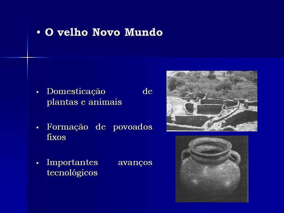 O velho Novo Mundo O velho Novo Mundo Domesticação de plantas e animais Domesticação de plantas e animais Formação de povoados fixos Formação de povoa
