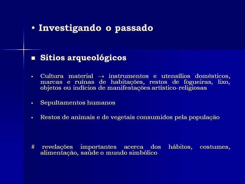 Investigando o passado Investigando o passado Sítios arqueológicos Sítios arqueológicos Cultura material instrumentos e utensílios domésticos, marcas