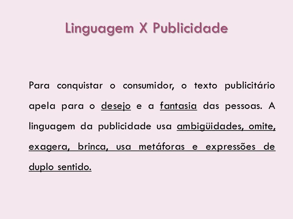 Linguagem X Publicidade Para conquistar o consumidor, o texto publicitário apela para o desejo e a fantasia das pessoas. A linguagem da publicidade us