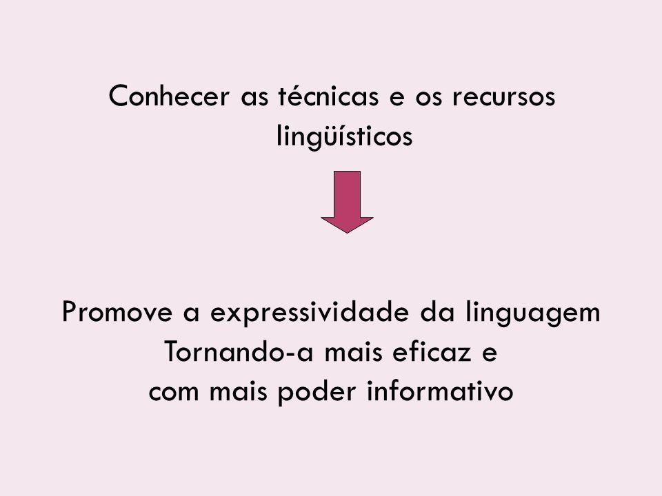 Promove a expressividade da linguagem Tornando-a mais eficaz e com mais poder informativo Conhecer as técnicas e os recursos lingüísticos