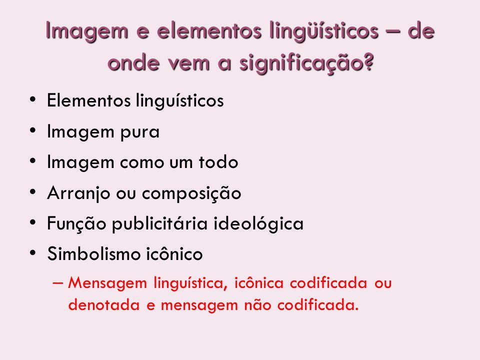 Imagem e elementos lingüísticos – de onde vem a significação? Elementos linguísticos Imagem pura Imagem como um todo Arranjo ou composição Função publ