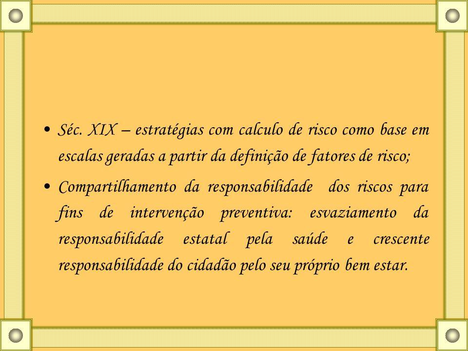 Séc. XIX – estratégias com calculo de risco como base em escalas geradas a partir da definição de fatores de risco; Compartilhamento da responsabilida