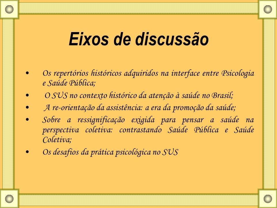 Eixos de discussão Os repertórios históricos adquiridos na interface entre Psicologia e Saúde Pública; O SUS no contexto histórico da atenção à saúde