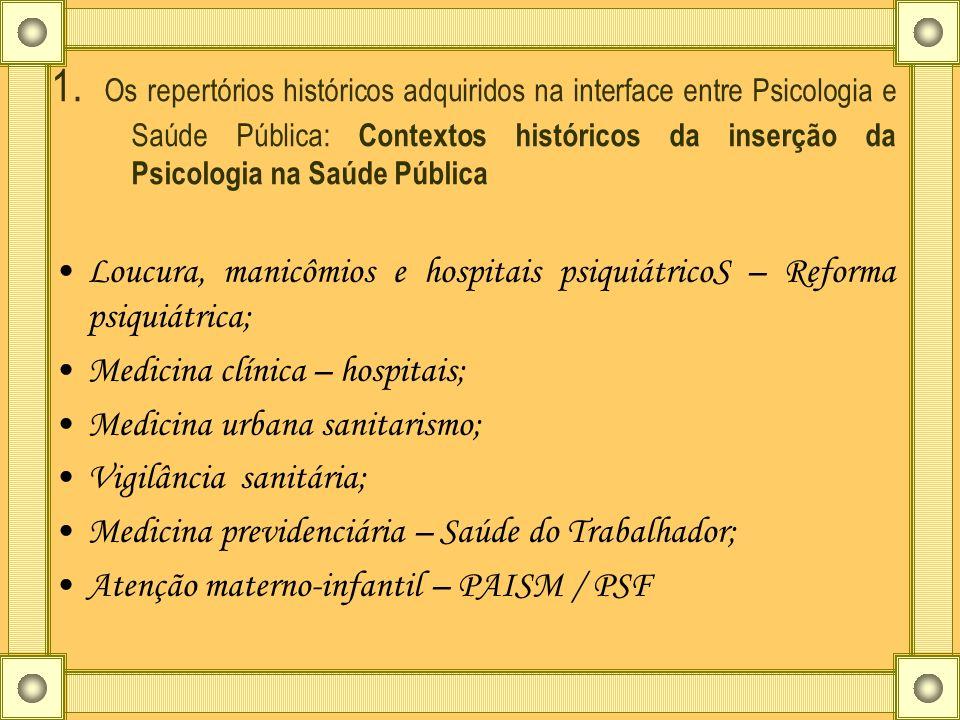 1. Os repertórios históricos adquiridos na interface entre Psicologia e Saúde Pública: Contextos históricos da inserção da Psicologia na Saúde Pública