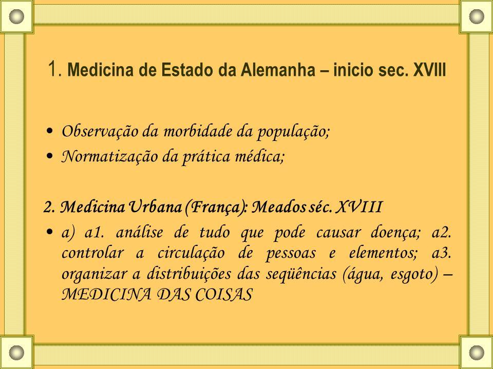 1. Medicina de Estado da Alemanha – inicio sec. XVIII Observação da morbidade da população; Normatização da prática médica; 2. Medicina Urbana (França