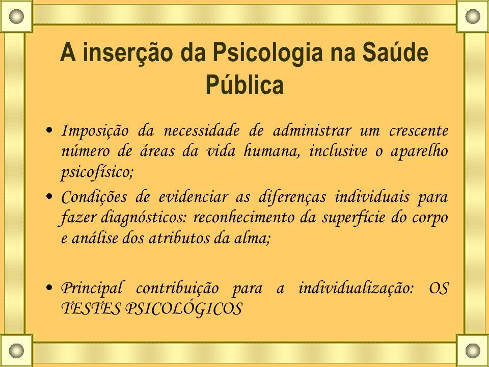 A inserção da Psicologia na Saúde Pública Imposição da necessidade de administrar um crescente número de áreas da vida humana, inclusive o aparelho ps