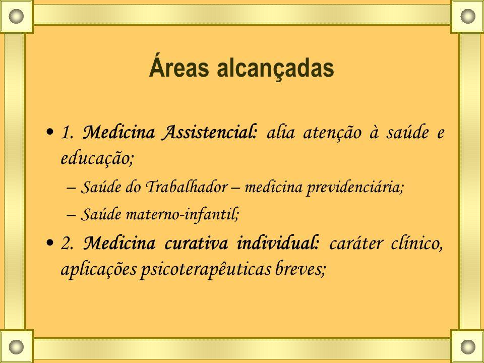Áreas alcançadas 1. Medicina Assistencial: alia atenção à saúde e educação; –Saúde do Trabalhador – medicina previdenciária; –Saúde materno-infantil;