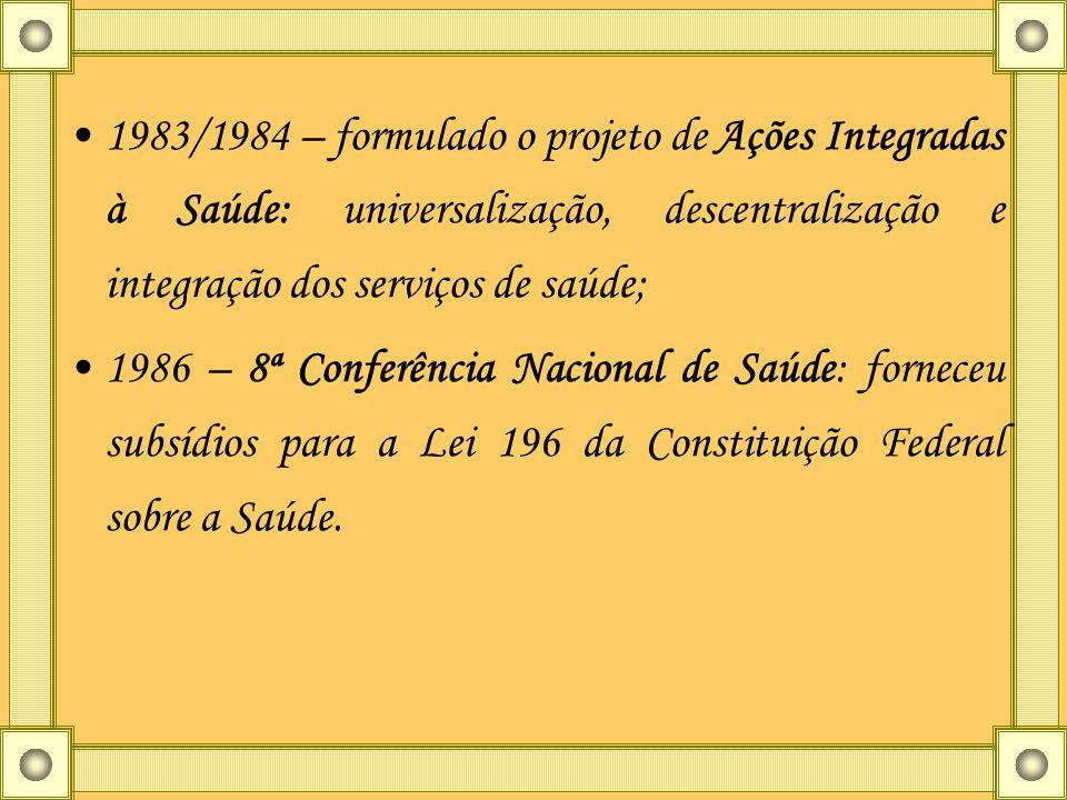 1983/1984 – formulado o projeto de Ações Integradas à Saúde: universalização, descentralização e integração dos serviços de saúde; 1986 – 8ª Conferênc