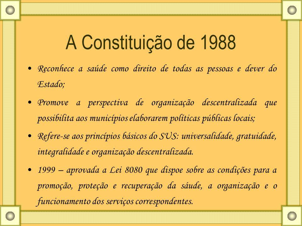A Constituição de 1988 Reconhece a saúde como direito de todas as pessoas e dever do Estado; Promove a perspectiva de organização descentralizada que