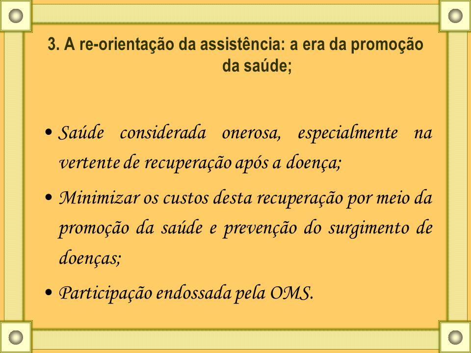 3. A re-orientação da assistência: a era da promoção da saúde; Saúde considerada onerosa, especialmente na vertente de recuperação após a doença; Mini