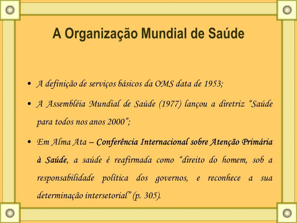 A Organização Mundial de Saúde A definição de serviços básicos da OMS data de 1953; A Assembléia Mundial de Saúde (1977) lançou a diretriz Saúde para