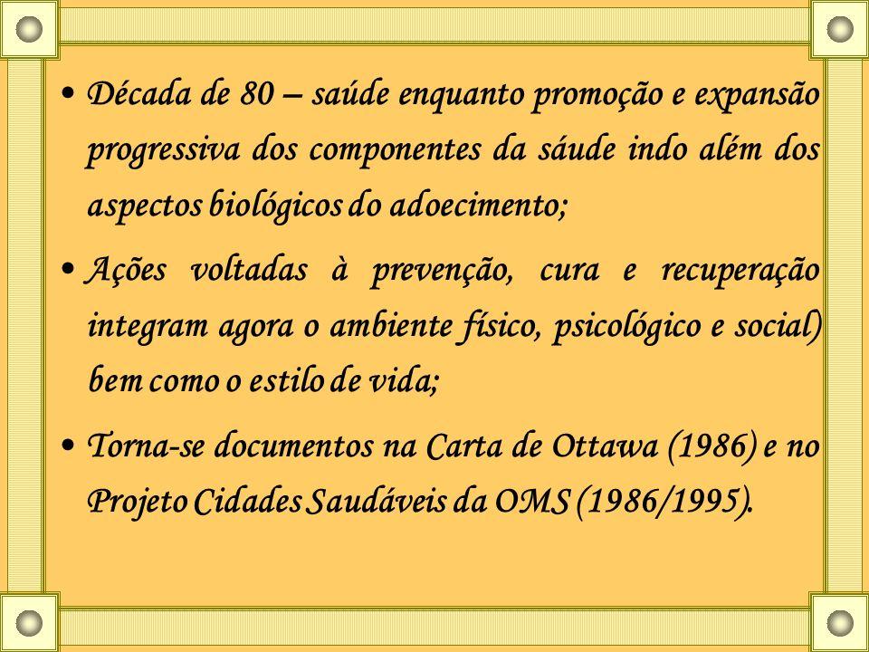 Década de 80 – saúde enquanto promoção e expansão progressiva dos componentes da sáude indo além dos aspectos biológicos do adoecimento; Ações voltada