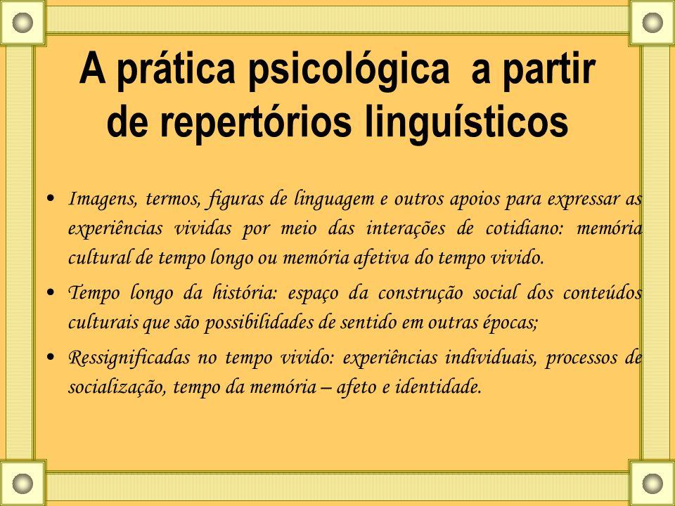 A prática psicológica a partir de repertórios linguísticos Imagens, termos, figuras de linguagem e outros apoios para expressar as experiências vivida