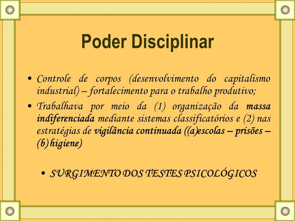 Poder Disciplinar Controle de corpos (desenvolvimento do capitalismo industrial) – fortalecimento para o trabalho produtivo; Trabalhava por meio da (1