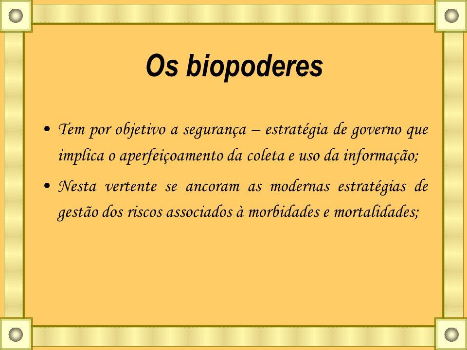Os biopoderes Tem por objetivo a segurança – estratégia de governo que implica o aperfeiçoamento da coleta e uso da informação; Nesta vertente se anco
