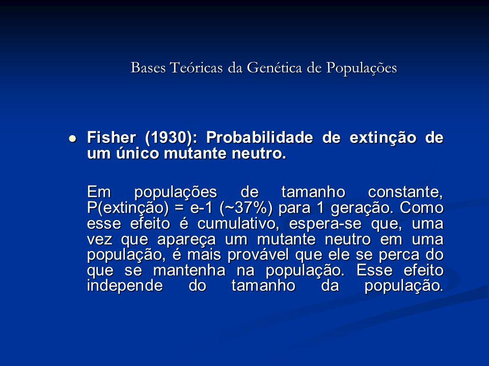 Bases Teóricas da Genética de Populações Fisher (1930): Probabilidade de extinção de um único mutante neutro. Fisher (1930): Probabilidade de extinção