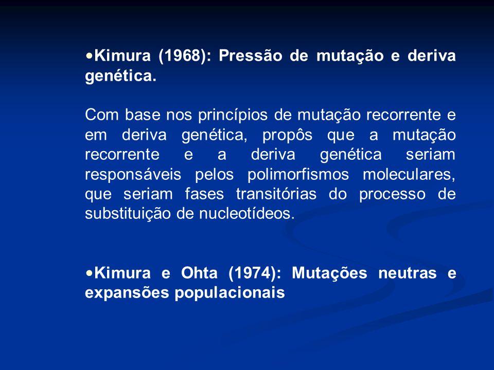 Kimura (1968): Pressão de mutação e deriva genética. Com base nos princípios de mutação recorrente e em deriva genética, propôs que a mutação recorren