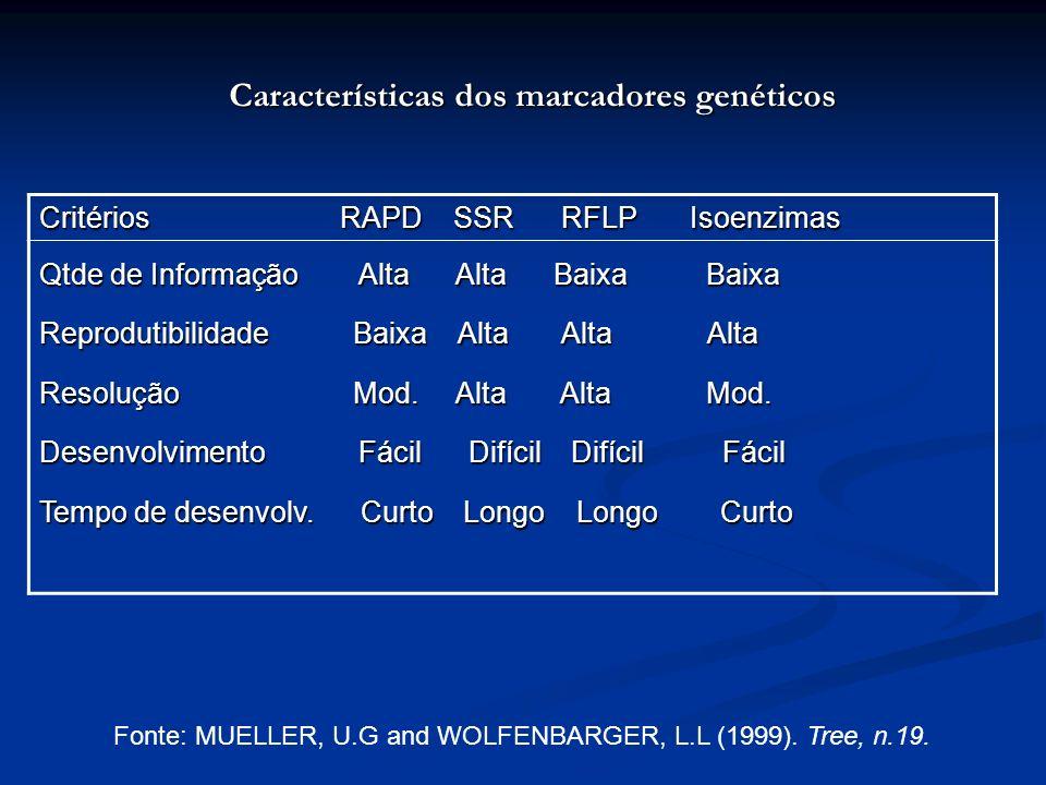 Características dos marcadores genéticos Critérios RAPD SSR RFLP Isoenzimas Qtde de Informação Alta Alta Baixa Baixa Reprodutibilidade Baixa Alta Alta