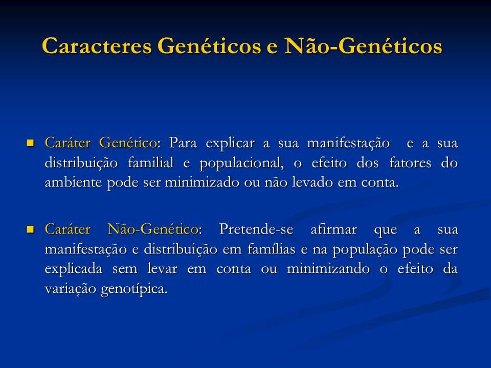 Caracteres Genéticos e Não-Genéticos Caráter Genético: Para explicar a sua manifestação e a sua distribuição familial e populacional, o efeito dos fat