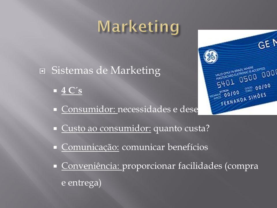 Sistemas de Marketing 4 C´s Consumidor: necessidades e desejos Custo ao consumidor: quanto custa? Comunicação: comunicar benefícios Conveniência: prop