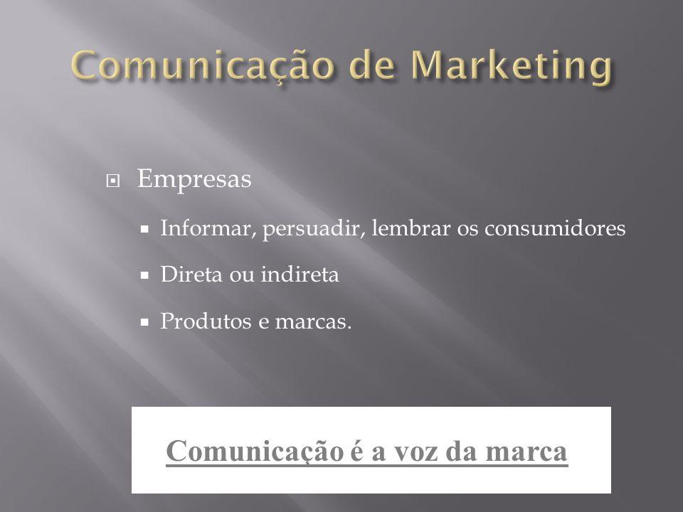 Empresas Informar, persuadir, lembrar os consumidores Direta ou indireta Produtos e marcas. Comunicação é a voz da marca