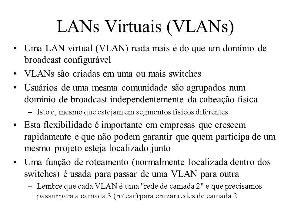 LANs Virtuais (VLANs) Uma LAN virtual (VLAN) nada mais é do que um domínio de broadcast configurável VLANs são criadas em uma ou mais switches Usuários de uma mesma comunidade são agrupados num domínio de broadcast independentemente da cabeação física –Isto é, mesmo que estejam em segmentos físicos diferentes Esta flexibilidade é importante em empresas que crescem rapidamente e que não podem garantir que quem participa de um mesmo projeto esteja localizado junto Uma função de roteamento (normalmente localizada dentro dos switches) é usada para passar de uma VLAN para outra –Lembre que cada VLAN é uma rede de camada 2 e que precisamos passar para a camada 3 (rotear) para cruzar redes de camada 2