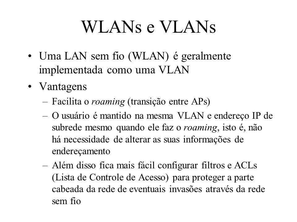 WLANs e VLANs Uma LAN sem fio (WLAN) é geralmente implementada como uma VLAN Vantagens –Facilita o roaming (transição entre APs) –O usuário é mantido na mesma VLAN e endereço IP de subrede mesmo quando ele faz o roaming, isto é, não há necessidade de alterar as suas informações de endereçamento –Além disso fica mais fácil configurar filtros e ACLs (Lista de Controle de Acesso) para proteger a parte cabeada da rede de eventuais invasões através da rede sem fio