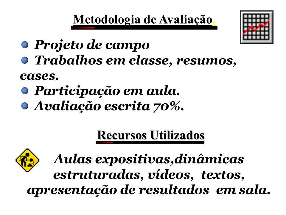 Metodologia de Avaliação.Projeto de campo Trabalhos em classe, resumos, cases.