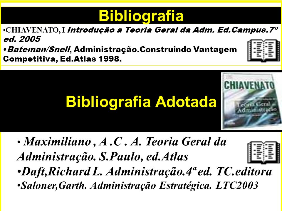 Bibliografia CHIAVENATO, I Introdução a Teoria Geral da Adm.