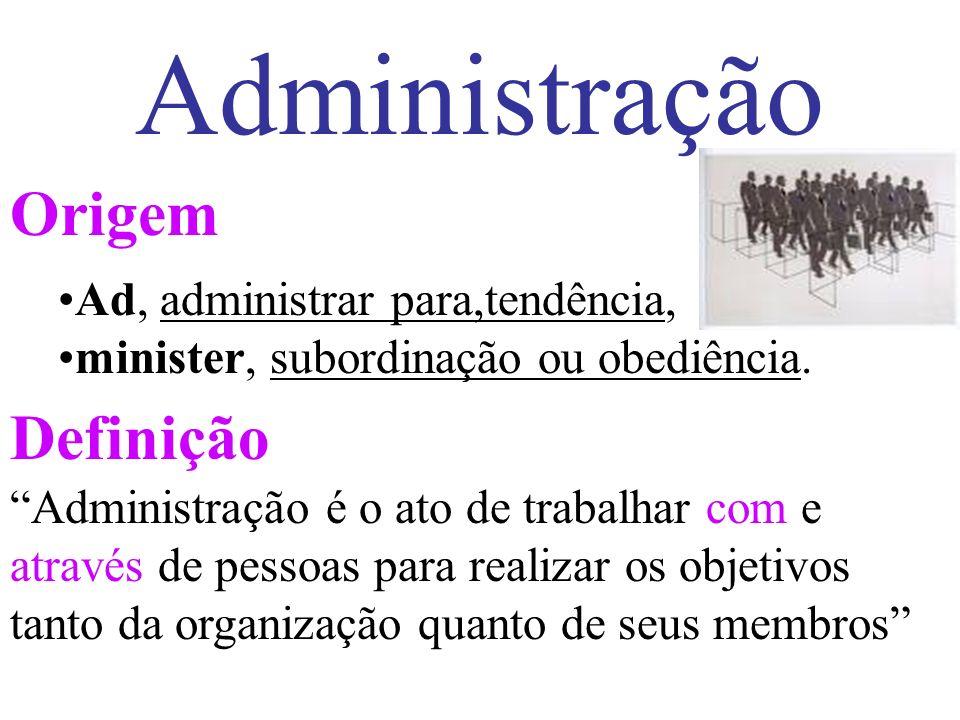 Administração Origem Definição Ad, administrar para,tendência, minister, subordinação ou obediência.